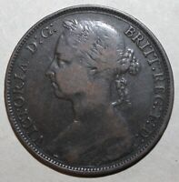 British Large Penny Coin, 1889 - KM# 755 - Queen Victoria - Britain UK One