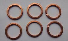 25 Split KEY RINGS ~28mm Bright COPPER Plated Steel ~ Wide flat wire ~ Sturdy