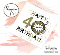 40th Present Gift Idea 40th Birthday Surprise Card. Scratch Off Reveal 40 Years