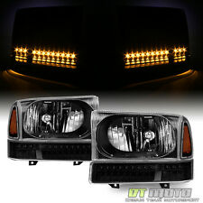 Black 1999-2004 Ford F250 F350 Superduty Headlights+SMD LED Bumper Signal Lights