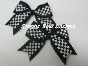 Lot 2 Black & White Checkered Flag Nascar Cheer Pigtail Hair Bows Set Baby Cute