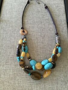 Silpada Sterling Silver Brown Leather Turquoise Tiger's Eye Necklace N1858 EUC