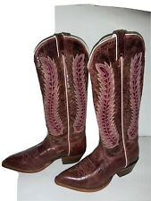 Woman's NOCONA Red Puma Leather Cowhide Western Cowboy Tall Boots 9 B Nice