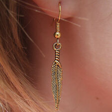 Gorgeous Golden Feather Earrings on Gold Plated French Hooks