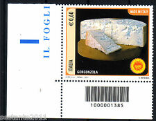 ITALIA 2011 FORMAGGI GORGONZOLA CODICE A BARRE 1385 MNH** 191B   ANGOLO LEGGI