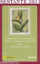 TESSERA FILATELICA FRANCOBOLLO L'AMBIENTE E LA NATURA FLORA ORCHIDEA 2002 D76