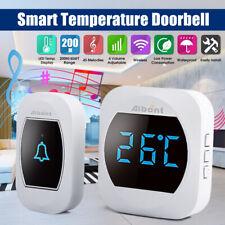 Smart Temperature Wireless Waterproof Doorbell 45 Chimes 200M Long Range Real-ti