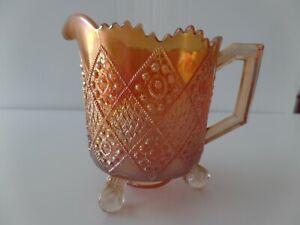 Rare Fenton Carnival Glass Marigold Fentonia Small Pitcher Creamer Claw & Ball