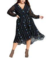 City Chic Women's 24w Plus Size Boho-Print Faux-Wrap Dress, Black, $119, NwT