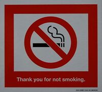 """4 LOT NO NON SMOKING 2-SIDED RED DECAL DECALS STICKER STICKERS SIGN 5 1/2"""" X 5"""""""