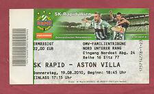 Orig.Ticket   Europa League  10/11  SK RAPID WIEN - ASTON VILLA FC  !!  SELTEN