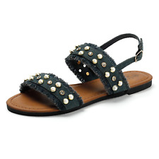 SANDALUP Denim Flat Sandals with Pearl for Women's Summer Blackish Green 08.5