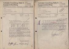 HALLE/SAALE, 2 x Rechnung 1941/44, Gebrüder Gruneberg Eisenwaren-Handlung