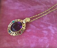 ANTIQUE VICTORIAN JEWELLERY AMETHYST GOLD PENDANT NECKLACE CHAIN VINTAGE JEWELRY