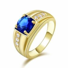 Men Halo Fashion Jewelry Blue Topaz Gold Filled Ringss Nobby Bridal Luxury Rings