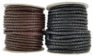 Decorative  Plaited leather cord Black & Dark Brown 5 mm Round
