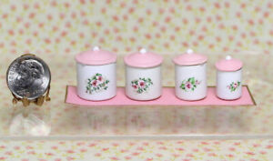 Dollhouse Miniature Pink Floral Canister Set