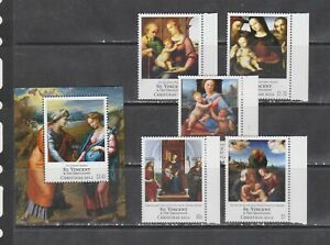 St Vincent and Grenadines 2012 art paintings christmas  Raphael set+s/s  MNH