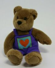 "Hallmark Cards Bear Purple Heart Overalls 10"" Plush Kiss Kiss Plush Stuffed"