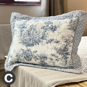 Luxury Pure Cotton Pale Blue Rectangle Cushion Cover Quilted French Toile Floral