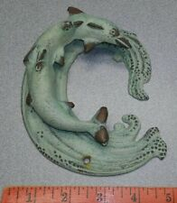 "Vintage Dolphin Art Deco Door Knocker - Bronze Brass ~ 5"" x 6"" Aquamarine Patina"