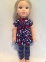 """Wellie Wishers 4th July Red Blue Leggings/Dress American Girl 14"""" doll clothes"""