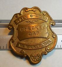 Taxi Driver Hat Badge Checker Cab Milwaukee(home of Harley Davidson) DALY 8-5000