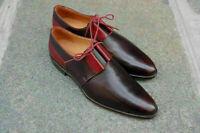 Chaussures à lacets Derby Richelieu faites à la main en cuir bicolore marron et