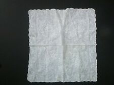 Vintage Madeira Portugal Embroidered White Linen Bride Scalloped Handkerchief