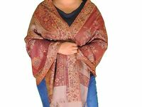 Maroon Kani Paisley Warm Wool Shawl Fashion Scarf Evening Dress Wrap Stole 78""