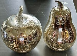 LOT OF 2 Z Gallerie Glass APPLE & PEAR Silver Mercury Figurine Home Décor