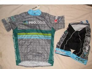 NEW - Primal Men's Cycling Kit, Jersey & Shorts, Prologis Grey/Blu (Select Size)