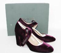HOBBS Ladies Dark Burgundy Chunky Heel Velvet Platform Court Shoes UK5 EU38 NEW