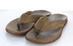 22-29  $100 Men's Sz 11 M Olukai Pikoi Leather Flip Flops In Brown