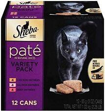 Adult Wet Cat Food Pack-12 Variety Beef Chicken Salmon Sheba PREMIUM Pate Corn