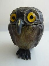 COLD PAINTED BRONZE OWL INKWELL
