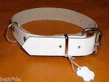 1 Hundehalsband weiss Echt Leder 60,0 x 2,5 cm für die lieben Hunde mit D-Ring