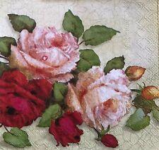 3 SET DECOUPAGE PAPER ROSES FLOWERS FLORAL NAPKINS  NEW