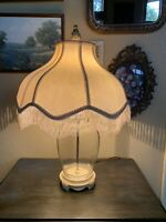 Antique Vintage Fringed Lampshade Lamp All Interior Wires Wrapped Heirloom