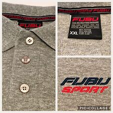 Vintage 90's Fubu Sport XXL Polo Shirt Spell Out Hip Hop Rap Gray Embroidered