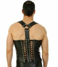 Genuine leather Buckled Vest Lace Up Style Zip top Jacket Mens Fetish Gay