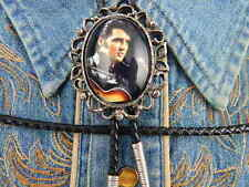 HANDCRAFTED IN THE UK ELVIS PRESLEY BOLO TIE SILVER COLOURED METAL, LEATHER CORD