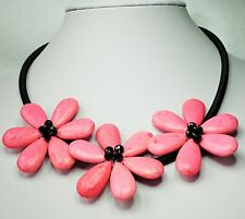 "3 Light Pink Stone Flower Necklace on Black Cord 48cm and 7cm 19"" + 2"""