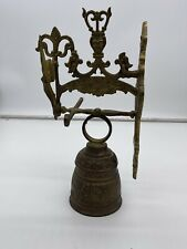 """Vintage Wall Mount Hanging Brass Bell 12"""" tall with winged woman figure complete"""