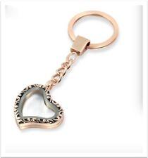 30mm Alloy Rose Gold  Glass Heart Shape Floating Charm Memory Locket Key Chain