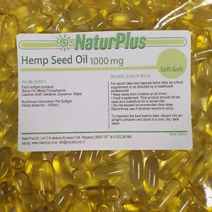 Hemp seed oil capsules 1000mg - 365 Softgels  - Cold Pressed by NaturPlus