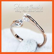 18K ROSE GOLD GF R107 BRIDAL SIMULATED DIAMONDS WOMENS GIRLS SOLID TOE BAND RING