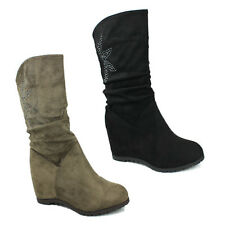 WOMENS WEDGE HEEL SLOUCH MID CALF BOOTS CASUAL LADIES SHOES NEW SIZE 3-8