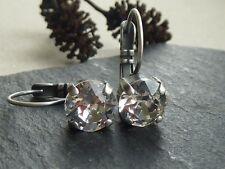 Antique Silver Leverback Earrings made with Clear Swarovski Crystal Elements