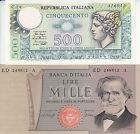 (94) Coppia di due Banconote lire 500 Mercurio lire 1000 Giuseppe Verdi 2° tipo